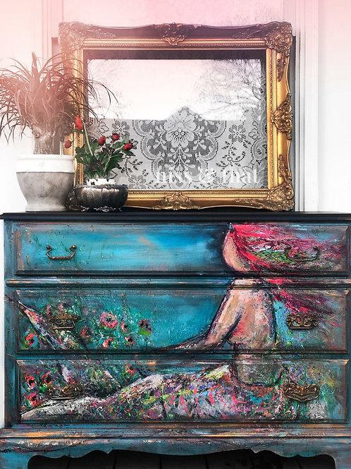 Handpainted Mermaid Dresser