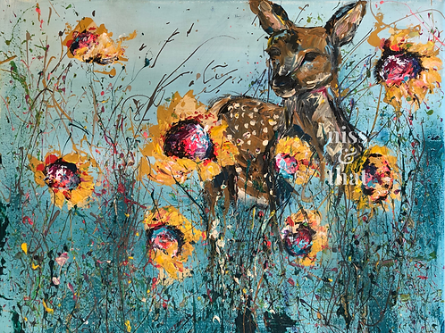 Fawn & Sunflowers