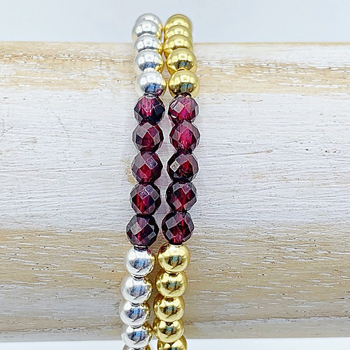 January Birthstone Bracelet - Garnet