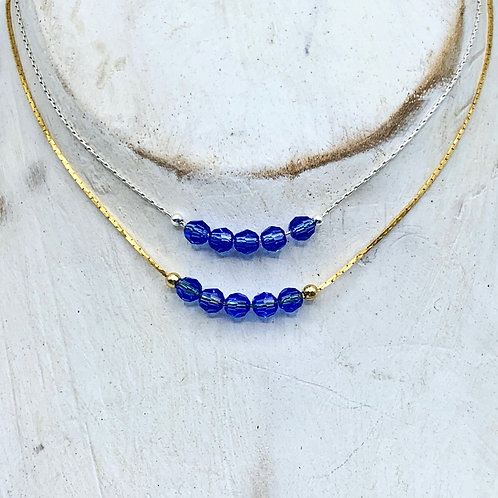 September Birthstone Necklace - Sapphire Swarovski Crystals