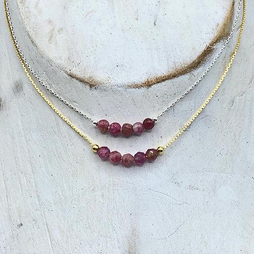October Birthstone Necklace - Pink Tourmaline