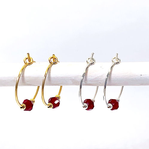 July Birthstone Earrings - Ruby Swarovski crystals