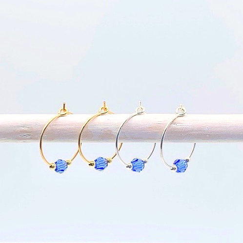 September Birthstone Earrings - Sapphire Swarovski Crystals