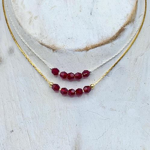 July Birthstone Necklace - Ruby Swarovski Crystal