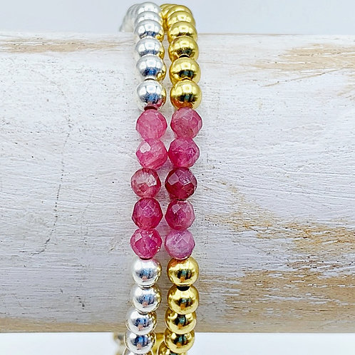 October Birthstone Bracelet - Pink Tourmaline