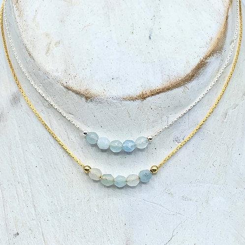 March Birthstone Necklace - Aquamarine
