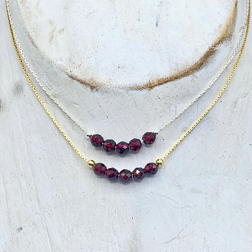 January Birthstone Necklace - Garnet