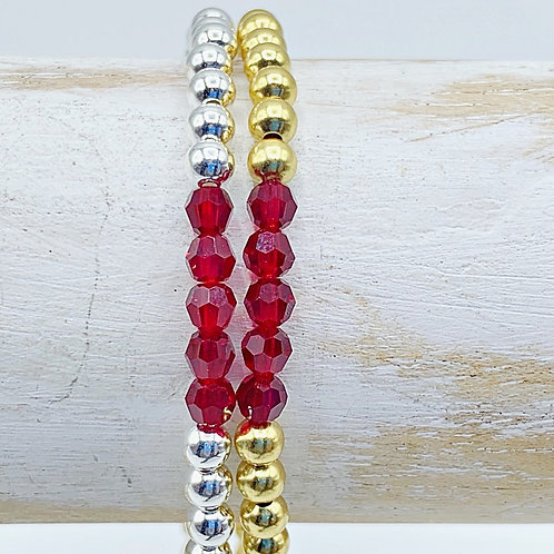 July Birthstone Bracelet - Ruby Swarovski Crystals