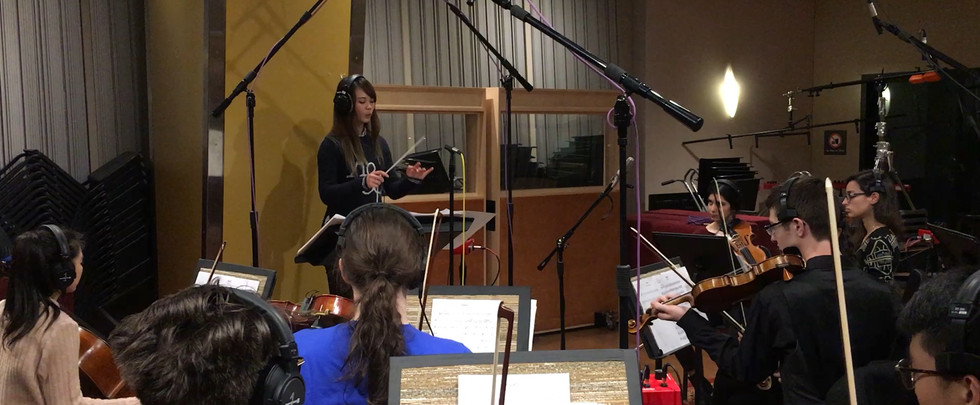Conducting Original Orchestral Score in Recording Session