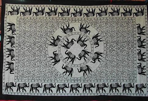 PETITE TENTURE BADAL ELEPHANTS BLANCHE ET NOIR