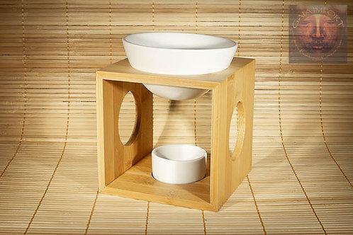 Brûle parfum bambou céramique blanc pour Galets Fondants et HE.