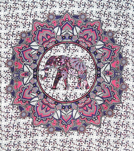 TENTURE ELEPHANT BLANC ET VIOLETTE