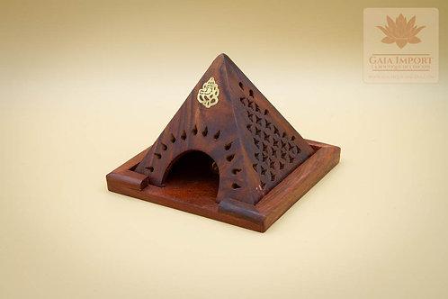 Porte encens pyramide en bois Sheesham