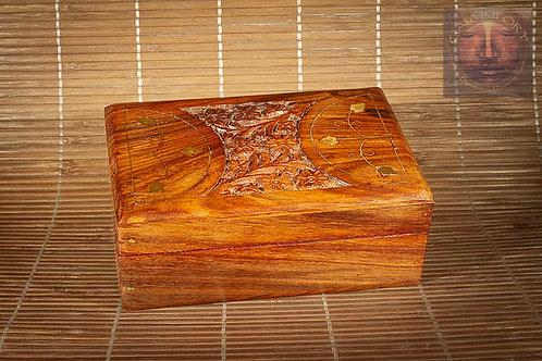 Boite en bois de Sheesham petit modèle avec couvercle sculpté.