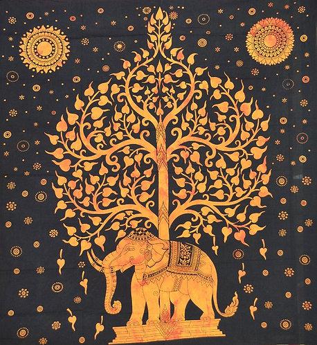 TENTURE ARBRE ET ELEPHANT ORANGE