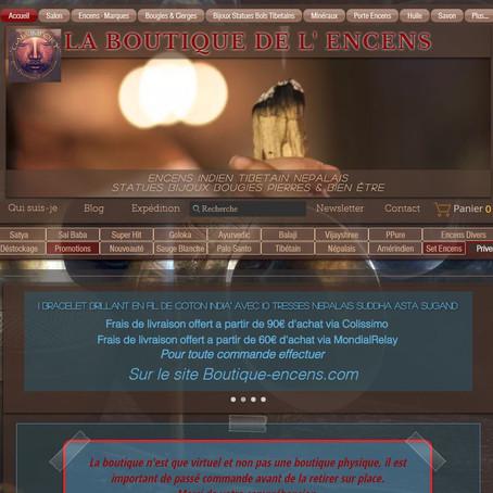 """Mise a jour du site """"Gaia Import - Boutique de l'encens"""""""