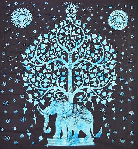 TENTURE ARBRE ET ELEPHANT BLEUE