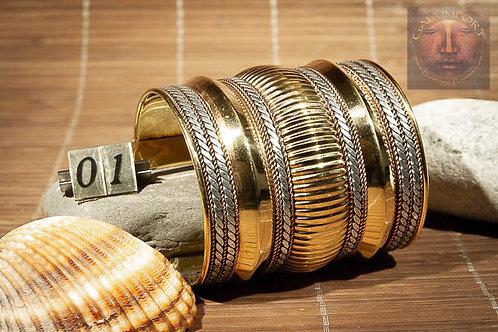 Bracelet Extra-large cuivre et doré Inde