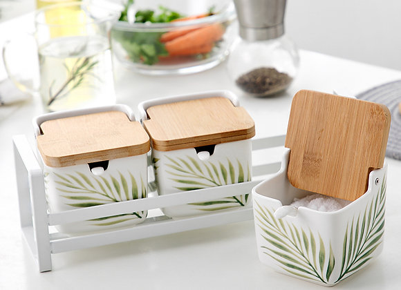 Leafy Square Spice Canister (Set of 3)