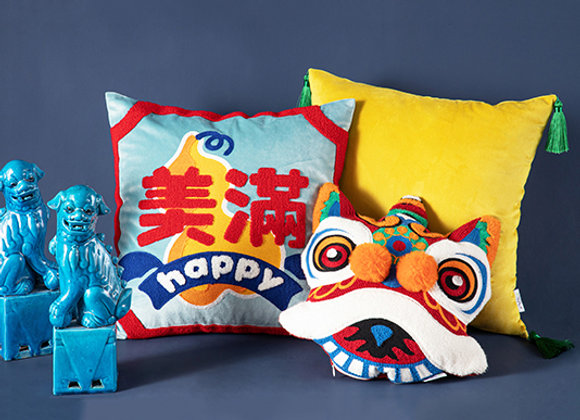 Happy 美满 Embroidered Cushion Cover
