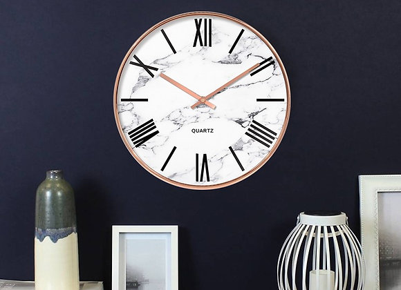 12' White Marble Rose Gold Clock