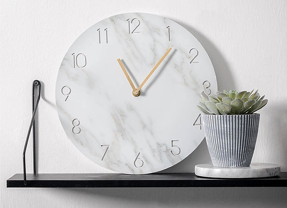 Nordic White Marble Clock