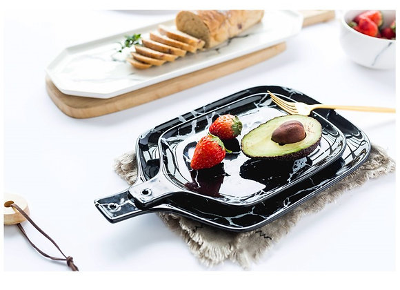 8' Black Marble Pattern Ceramic Plate with Handle