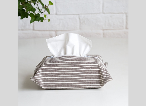Striped Coffee Brown Tissue Cover