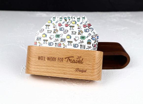 Engraved Wooden Card Holder - Beech