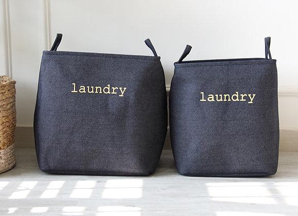 Minimalist Denim Blue Laundry Basket