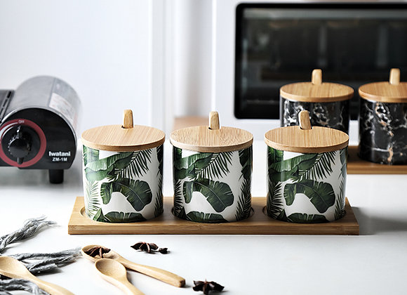Banana Leaf Ceramic Spice Jar