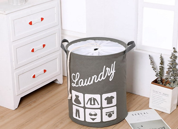 Laundry Basket with Lid - Grey