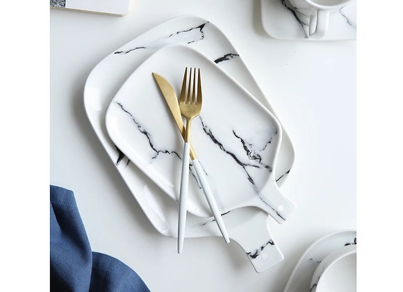 10' White Marble Pattern Ceramic Plate with Handle