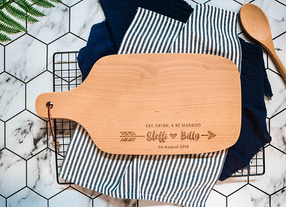 Wedding Arrow Engraved Chopping Board (Under 1/4)