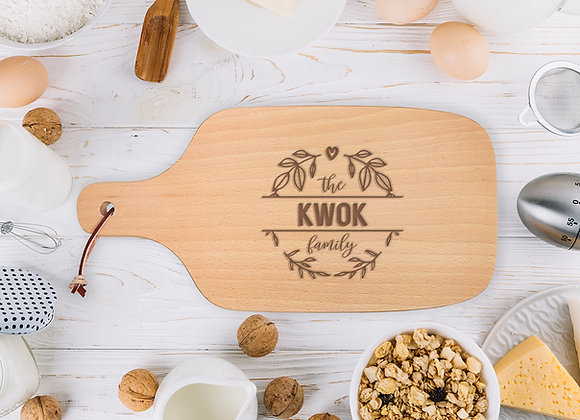 Family Name Wreath Chopping Board
