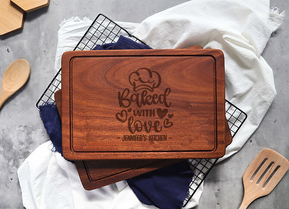 Chef Hat Baked with Love Chopping Board