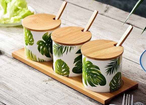 Split Leaf Ceramic Spice Jar