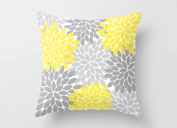 Yellow Grey Floral Cushion Cover