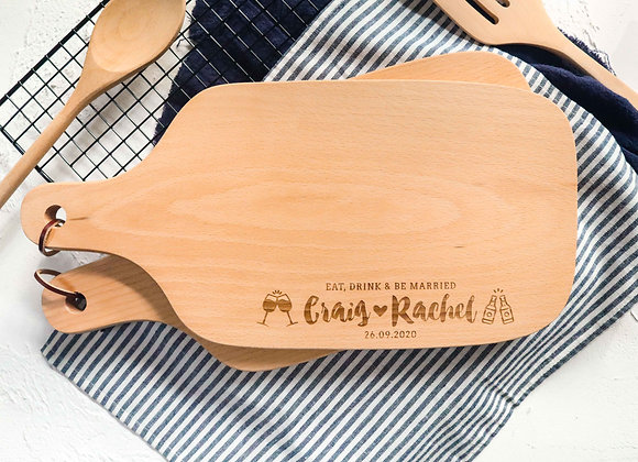 Eat, Drink & Be Married Engraved Chopping Board (Under 1/4)