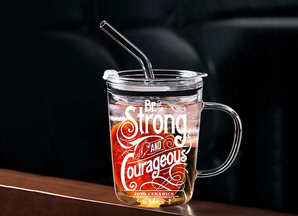 Be Strong Glass Tumbler with Straw