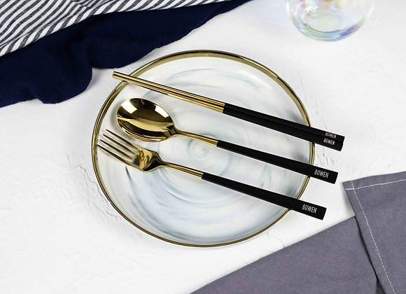 Personalised Cutlery (Set of 3) - Black & Gold