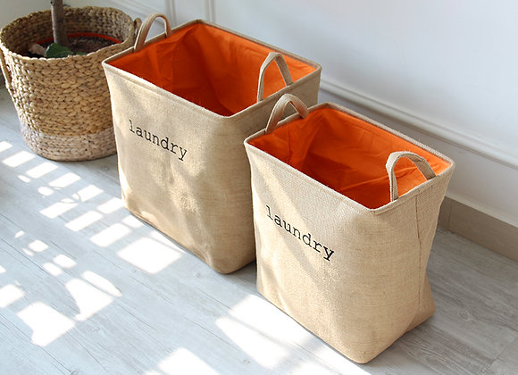 Minimalist Jute Brown Laundry Basket