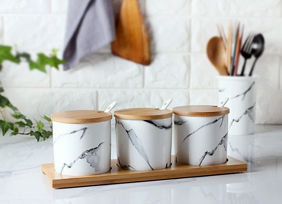 Marble Pattern Ceramic Storage Canister (Set of 3)