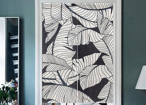 Monochrome Leafy Door Curtain