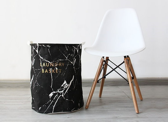 Marble Laundry Basket (Black)