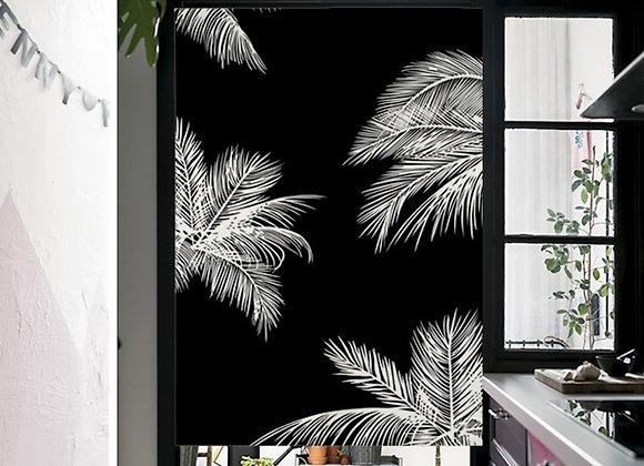 Black & White Palm Leaf Door Curtain