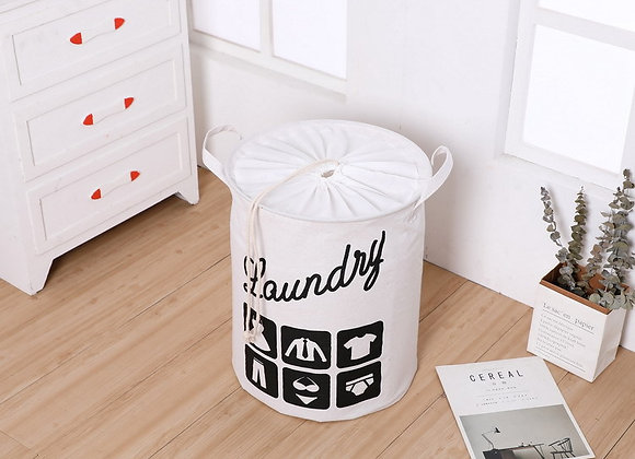 Laundry Basket with Lid - White
