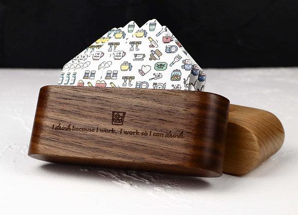 Engraved Wooden Card Holder - Walnut