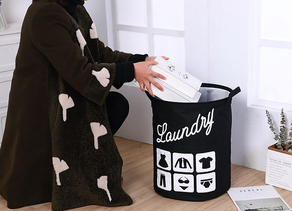 Laundry Basket with Lid - Black
