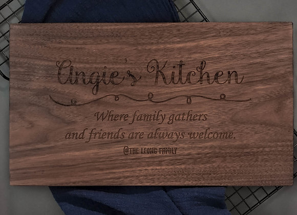 Where Family Gathers Walnut Chopping Board (Over 1/4)